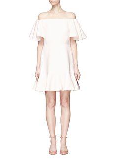 VALENTINO Ruffle Crepe Couture Off-Shoulder Dress. #valentino #cloth #dress