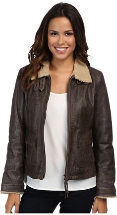 $240, Dark Brown Leather Bomber Jacket: Scully Breanne Leather Bomber Jacket. Sold by Zappos. Click for more info: https://lookastic.com/women/shop_items/134461/redirect