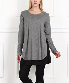 7926cdf59b0 Gray   Black Layered Tunic  zulilyfinds Shirts