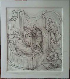 Рождество Богоматери Art Icon, Orthodox Icons, Painting Process, Byzantine, Sunday School, Drawing S, Fresco, Coloring Pages, Creations
