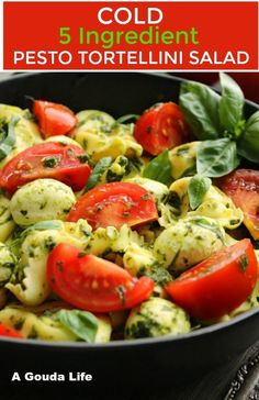 Easy cold 5 ingredient pasta salad with tortellini, tomatoes, basil + fresh mozzarella tossed with herby pesto. Perfect for parties, picnics and potlucks - no mayo! #pastasalad #salad #tortellini #pesto #pestotortellini #5ingredient #sidedish #agoudalife Pasta Salad With Tortellini, Pesto Pasta Salad, Cheese Tortellini, Gouda, Party Side Dishes, Tomato Mozzarella, Side Salad, Vegan Recipes Easy, Salads