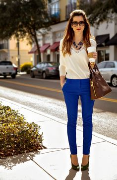 Ivory Lace and Tile Blue Columnist Work Outfit