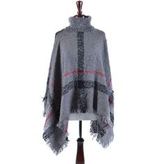 Blandice Plaid Fringed Turtleneck Poncho ($30) ❤ liked on Polyvore featuring outerwear, grey, gray turtleneck, grey poncho, plaid poncho, fringe poncho and turtle neck poncho