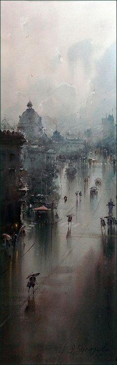 Dusan Djukaric Watercolor, 101x33 cm