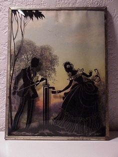 Vintage--Water For The Lady--Silhouette--Domed Glass--Reverse Painted--Convex--Picture