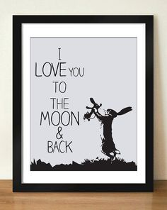 Digital Download I Love You To The Moon and Back by dotsonthewall, $6.00