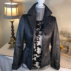 Escada Stunning Black & Gray Silk Jacjet