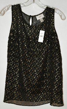Ann Taylor Loft Sheer Black Ruffle Front Blouse Gold Flecks Sz Large Petite NWT