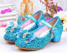 May 2020 - Blue Glitter Toddler Girls Maryjane Heel Shoes. Girls Frozen Inspired Princess Elsa Dress Shoes for Flower Girl Shoes, Girls Dress Shoes, Girls Heels, Flower Girls, Sparkle Shoes, Fancy Shoes, Cute Shoes, Baby Girl Sandals, Girls Sandals