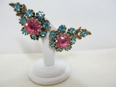 1950s Blue & Pink Rhinestone Earrings Item 274 by KittyCatShop