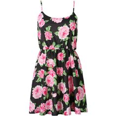 Choies Black Floral Print Chiffon Cami Skater Dress (52 BRL) ❤ liked on Polyvore featuring dresses, vestidos, robe, short dresses, black, chiffon dress, black skater dress, floral dress and black chiffon dress