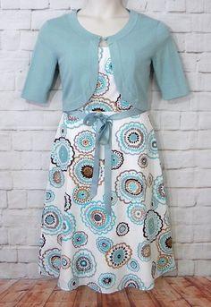 Womens DRESSBARN Multicolor Floral Empire Waist Dress Knit Shrug Set Size 6 #dressbarn #EmpireWaist #CasualWeartoWork