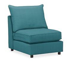 PB Comfort Roll Arm Upholstered Armless Chair, Knife Edge Down Blend Wrapped Cushions, Vintage Velvet Bali