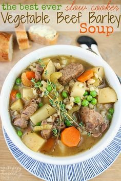 Amazing slow cooker soup full of tender vegetables, beef and flavorful broth. It's what's for dinner tonight!