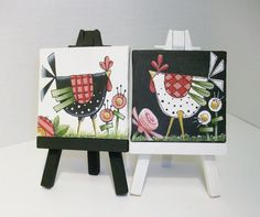 Two Mini Canvas Funky Chicken Paintings With por ToletallyPainted