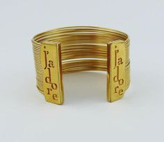 Vintage CHRISTIAN DIOR J Adore Logo Gold Wire CUFF Bangle Bracelet 5826138cb7eaf