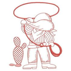 Sweet Heirloom Embroidery Design: Redwork Roping Cowboy 3.81 inches H x 3.02 inches W