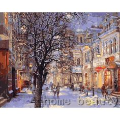 New home decor pictures on canvas diy oil painting by numbers drawing nodular pictures one the wall art snow town E172 #Affiliate