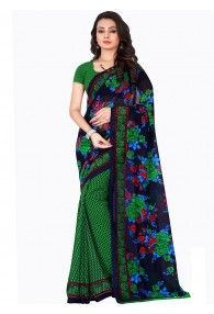 Shonaya Green & Blue Colour Georgette Printed Saree With Unstitched Blouse Piece