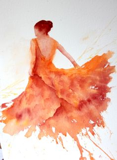 Another Art form of Twirl / Orange Flamenco by Sue Bradley Watercolor Dancer, Watercolor Artists, Watercolor Portraits, Watercolour Painting, Painting & Drawing, Watercolors, Dance Paintings, Spanish Art, Painting People