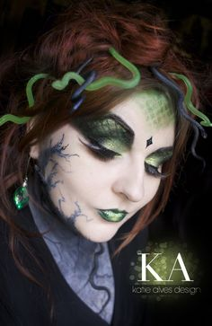 Medusa Makeup by Katie Alves It has the traditional snake but also stone creeping up...