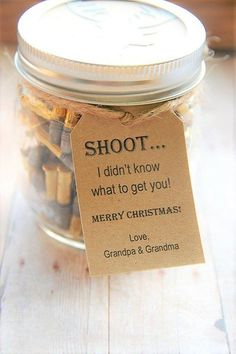 SHOOT I didn't know what to get so I got you bullets and cash :) ~ Gift idea for the hard to buy for man in your life! Great guy gift ~ dad ~ husband ~ Perfect for Christmas ~ Birthday ~ Fathers day ~ bullets in a jar ~ gift in a jar ~ toilet paper roll with money in it ~ Unique cash gift  www.KendollMade.com