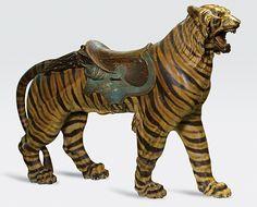 "Rare Carousel Tiger By Philadelphia Toboggan Company Mostly original paint, circa 1905 67"" long"