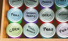 Simple but great idea for storing all those tins in a pull-out draw... no more scrambling around the deep, dark recesses of the cupboard!
