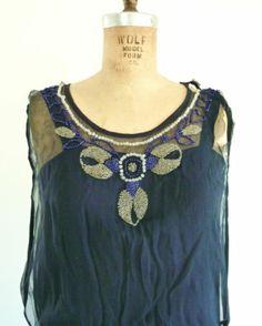 Midnight Blue Beaded Silk Vintage 1920s Dress Drop Waist Great Gatsby Flapper | eBay