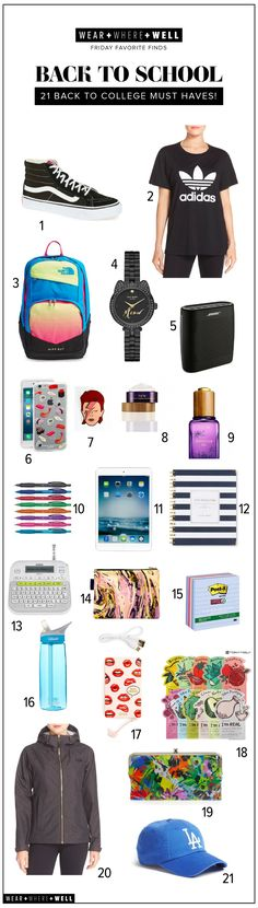 Wear + Where + Well : 21 must-have back to school supplies - college edition!