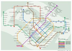 A map of the Singapore MRT (Mass Rapid Transit) system, to be completed by 2024 Singapore Map, Singapore Malaysia, Train Map, System Map, Rapid Transit, Public Transport, East Coast, Planer, Singapore