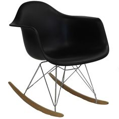 Modway Furniture Rocker Lounge Chair In Black By (615 DKK) ❤ liked on Polyvore featuring home, furniture, chairs, black lounge chair, onyx furniture, black rocker, black furniture and black chair
