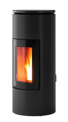 Ductable pellet stove,with top in black coated aluminium and steel sides in the colours Bronze, Silver and Black.