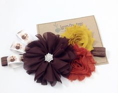 Fall Headband Turkey Headband Thanksgiving Headband Brown Mustard Rust Couture  Ballerina Flower Feathers Photo Prop Autumn Photo Prop
