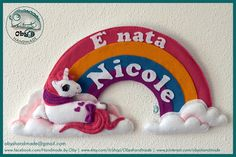 """Oby's Handmade - Fiocco nascita. My little pony stile anni 80 in feltro.   Baby name sign, newborn sign oder nursery decoration. Felt """"My little pony"""" 80th style, completely handmade."""