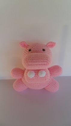 Crochet Hippo Plush Stuffed Animal Doll by YouHadMeAtCrochet