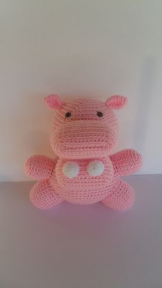 Crochet Hippo Plush Stuffed Animal Doll by YouHadMeAtCrochet