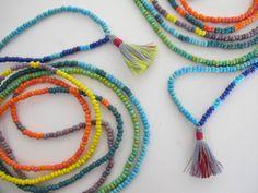 Tropical Rainbow Beaded Necklace Wrap Bracelet by TheRainbowFarmer