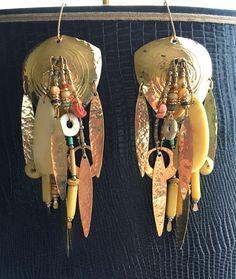 Boho Tabra Bone & Coral 14K Gold Filled Embossed Hammered Tribal Concho Shield Chandelier Vintage Goddess Earrings by BohoTresChic on Etsy
