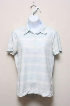 Nike Golf Women's Dri Fit Tennis Polo Collared Shirt Size M Blue Stripe Pattern #Nike #ShirtsTops