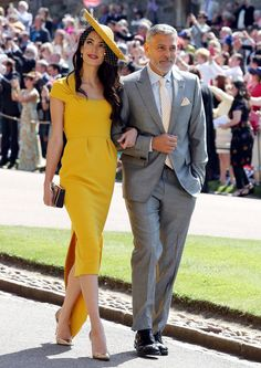 May 19, 2018 Prince Harry & Meghan Markle's Royal Wedding: Guests Amal and George Clooney - Amal in custom Stella McCartney and Gianvito Rossi shoes.