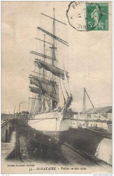 St-Nazaire, Trois-mâts en cale sèche St Nazaire, Merchant Marine, Vintage Boats, Sea Monsters, Tall Ships, Sailing Ships, Pirates, Cathedral, Cap