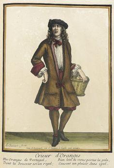 """Post-1674 French Fashion plate """"Recueil des modes de la cour de France, 'Crieur d'Oranges'"""" at the Los Angeles County Museum of Art, Los Angeles"""