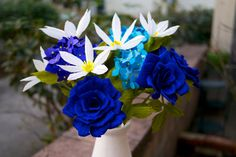 Handmade Paper Flower Bouquet- Blue and White- hydrangeas, clematis, roses by Petaling Paper White Clematis, White Hydrangeas, White Flowers, Wedding Dresses With Flowers, Bridal Flowers, Sunflower Bridesmaid Bouquet, Calla Lily Flowers, Flower Bouquets, Boquette Wedding