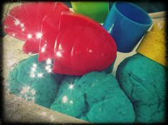 Homemade play dough, we all know how much kids love play dough, think my little man is a bit to small still for it, as all he did was try and eat it. This is a simple play dough recipe, without the baking involved.. I added a bit of glitter to give it a extra wow effect..         http://www.bestrecipes.com.au/recipe/No-Cook-Play-Dough-L2119.html