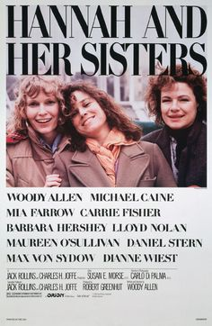 Between two Thanksgivings, Hannah's husband falls in love with her sister Lee, while her hypochondriac ex-husband rekindles his relationship with her sister Holly. Director: Woody Allen Writer: Woody Allen Stars: Mia Farrow, Dianne Wiest, Michael Caine  http://www.imdb.com/title/tt0091167/