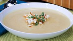 Popcorn Soup with Cheddar Croutons - Steven and Chris