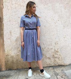 """""""Mi piace"""": 123, commenti: 1 - Wild Lily Boutique (@wildlily_boutique) su Instagram: """"Abitino azzurro e sneakers con dettagli color oro! 🌟 @ludovicaabenedetti #staywildlily"""""""
