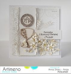 Blog sklepu Artimeno First Communion Cards, First Holy Communion, Cute Cards, Diy Cards, Craft Sites, Communion Invitations, Baptism Gifts, Heartfelt Creations, Card Tags