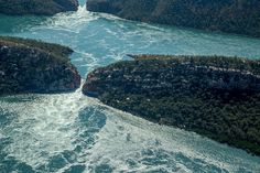 """Horizontal Falls Not far away from Broome, there's a rare natural phenomenon known as """"horizontal falls"""". Natural Phenomena, Western Australia, Far Away, North West, Festivals, Travel Destinations, River, Beach, Nature"""